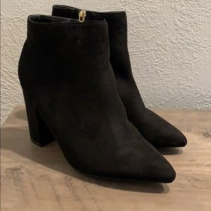 Faux Suede Pointed Toe Ankle Bootie